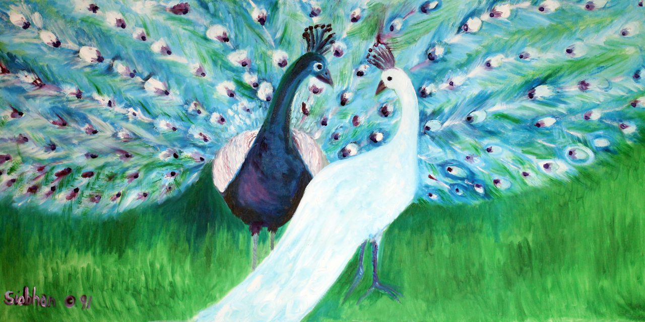 Peacocks Oil on Canvas